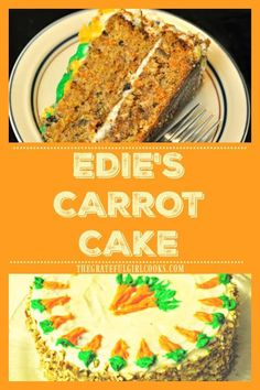 Enjoy a slice of this moist and absolutely DELICIOUS carrot cake, bursting with carrots, pineapple, pecans, spices, and topped with cream cheese frosting! via @gratefuljb