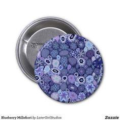 Blueberry Millefiori 2 Inch Round Button