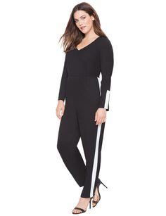 Side Stripe Jumpsuit   Women's Plus Size Tops   ELOQUII