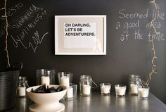Kind of love the idea of a chalkboard wall - maybe in a kitchen.