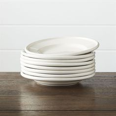 Crate & Barrel Set of 8 Dinette Salad Plates ($30) ❤ liked on Polyvore featuring home, kitchen & dining, dinnerware, salad plates, white stoneware, white salad plates, crate and barrel dinnerware and stoneware dinnerware