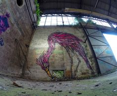 These colorful murals of animals on abandoned buildings in Antwerp were created by Belgium artist Dzia. The artist is well recognized for his distinctive style of bold and swirling lines and complex patterns. Dzia's animalistic murals breathe life into the streets of his hometown and some of artist's pieces can also be found in cities across Europe.