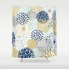 Items similar to Bathroom Decor Shower Curtain  Navy Grey Yellow Pale Blue Floral Design on Etsy Flower Burst Bath Teal