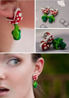 geek, clays, super mario brothers, chains, video games, polymer clay, carnivorous plants, earring, super mario bros