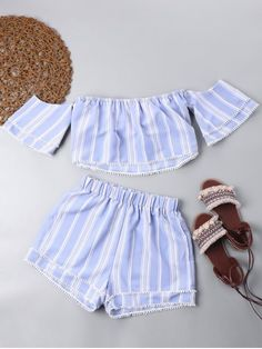 Light Blue Summer Striped Flat Elastic Mid Short Off Regular Boho Beach and Beach Off Shoulder Crop Top with Tiered Shorts Crop Top Outfits, Summer Outfits, Cute Outfits, Daily Fashion, Girl Fashion, Fashion Outfits, Fashion Trends, Trendy Fashion, Tumblr Outfits