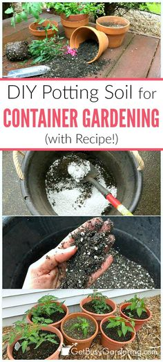 It's easy to make your own potting soil for container gardening! This simple four-ingredient recipe is perfect for growing vegetables, herbs and flowers.