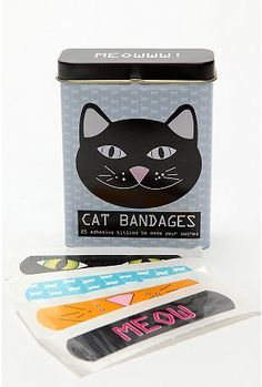 Cat bandages from Urban Outfitters - If you weren't already labelled a crazy cat lady, try using one of these bandaids, lol Crazy Cat Lady, Crazy Cats, I Love Cats, Cool Cats, Gadgets, Gatos Cats, Cat Accessories, Cat People, Here Kitty Kitty