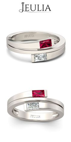 Split Shank Baguette Cut Ruby & Created White Sapphire Rhodium Plated Sterling Silver Women's Ring #jeulia