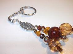 Amber Beaded Keychain Chunky Bead Keychain Silver by mscenna, $8.00