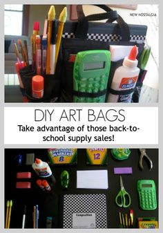 New Nostalgia: DIY Art Bags. Get supplies now while everything is on sale...your kids will love having this handy whenever their little brains feel creative or when it is homework time. #crafts #art #backtoschool