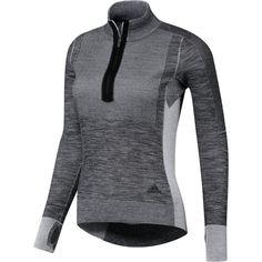 Adidas Ultra Primeknit Half-Zip Shirt ($120) ❤ liked on Polyvore featuring tops, shirt tops, adidas shirt, half zip top, adidas top and adidas