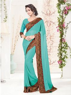 Green & Red Georgette Saree ,Indian Dresses