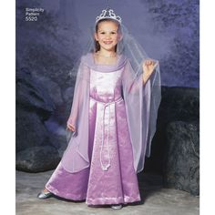 """Simplicity sewing pattern for Child's fantasy costumes includes a dress, veil, tunic, hood, belt, boots, armor and helmet. From designer Andrea Schewe. Available as a printable pattern—for more information, see <a href=""""http://www.simplicity.com/printable-sewing-patterns/printable-sewing-patterns.html"""" target=""""_blank"""">Printable Sewing Patterns</a>."""