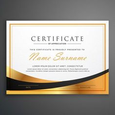Luxurious certificate Free Vector