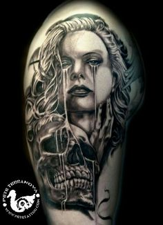 Black and gray realism skull and girl tattoo