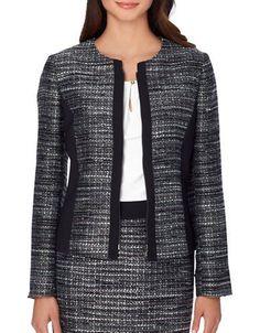 Tahari Arthur S. Levine Petite Boucle Zip-Front Jacket Women's Black P Chic Outfits, Fashion Outfits, Boucle Jacket, Gray Jacket, Metallic Jacket, Womens Dress Suits, Jackets For Women, Clothes For Women, Work Attire
