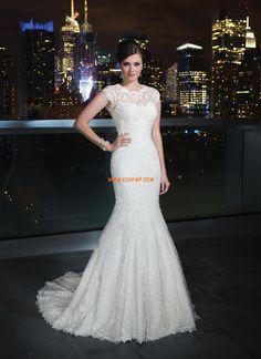 Traîne moyenne Dentelle Elégant & Luxueux Robes de mariée de luxe