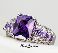 Diamond Rings : beautiful amethyst square stone with diamond and amethyst channel set stones on . - Buy Me Diamond Purple Rings, Purple Jewelry, Amethyst Jewelry, Topaz Earrings, Turquoise Rings, Purple Love, All Things Purple, Shades Of Purple, Purple Stuff