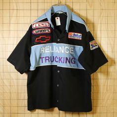 USA製古着/ブラック×ライトブルー/モーター系ワッペン半袖ワークシャツ・スタッフシャツ/メンズXL