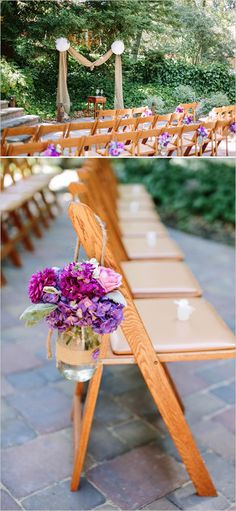 purple mason jar floral decor for chairs-   like it except ribbon instead of twine
