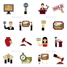 Auction Icons Set — Vector EPS #set #cash • Available here → https://graphicriver.net/item/-auction-icons-set/14073461?ref=pxcr