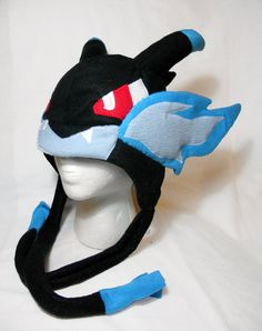 Pokemon Inspired Mega Charizard X Fleece Hat -MADE TO ORDER-