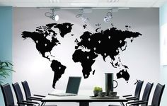 Earth World Map Atlas with Google Dots Vinyl Decor Decal Removable Wall Art Sticker for Window, Glass, Furniture Meeting, Living room DIY by DeliciousDeals on Etsy https://www.etsy.com/listing/168588279/earth-world-map-atlas-with-google-dots