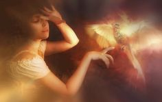 Photo Fantasy Magical animals-Phoenix and girl 3d Fantasy, Fantasy Women, Fantasy Drawings, Free Desktop Wallpaper, Wallpaper Backgrounds, Desktop Wallpapers, Sacred Spirit, Phoenix Bird, Greek Mythology