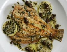 Flounder with olives and lemon