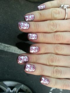 pink with red nail stamp