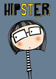 Ilustraciones - hipster - hecho a mano por lacajadepintura en DaWanda