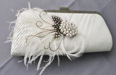 Wedding Formal Ivory Evening Clutch Adorned by Chuletindesigns, $55.00