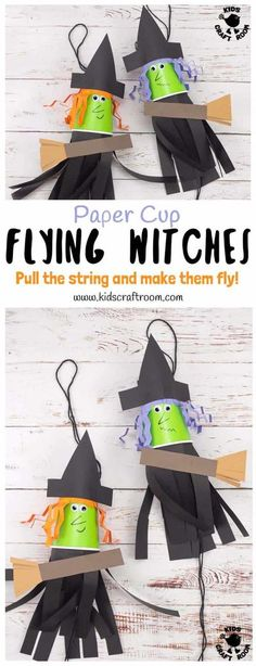 This Flying Paper Cup Witch Craft For Kids is so easy to make and loads of fun! Children will LOVE how interactive this paper cup craft is. Just pull the string and watch your witch fly up and down on her broomstick! Such a fun Halloween craft! #kidscraftroom  #halloweencrafts #kidscrafts #kidscraft #papercupcrafts #papercups #witch #halloween #witchcrafts #halloweencraft #halloweendecorations Scary Halloween Crafts, Halloween Crafts For Kids To Make, Fun Halloween Games, Halloween Activities For Kids, Fete Halloween, Halloween Themes, Paper Halloween, Halloween Witches, Kids Diy