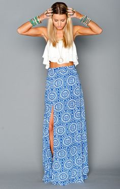 Mick Slit Maxi Skirt in Mykonos at UPTOWN STRUT Boutique   As Seen On ABC The Bachelorette Andi Dorfman - UPTOWN STRUT   Best Women's Boutique and Online Store   Women's Apparel and Doggy Accessories