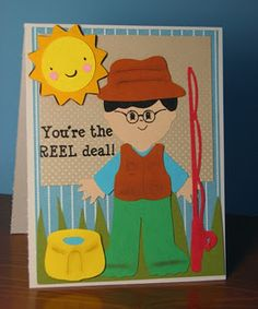 """Cricut Every Day Paper Dolls, Cardz TV Stamps """"It's A Guy Thing"""""""