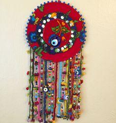 nazarlık, amulet Cement Art, Evil Eye Jewelry, Evil Eye Charm, Felt Ornaments, Stone Art, Needle And Thread, Wind Chimes, Wool Felt, Folk Art
