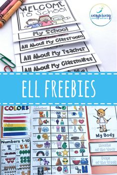 you Need for ELL Newcomers {Essential Words Lap Book} Free products and activities for ELL newcomers!Free products and activities for ELL newcomers! English Language Learners Elementary, Teaching English, Elementary Schools, Ell Strategies, Teaching Strategies, Teaching Tips, Ell Students, Esl Lessons, Free Products