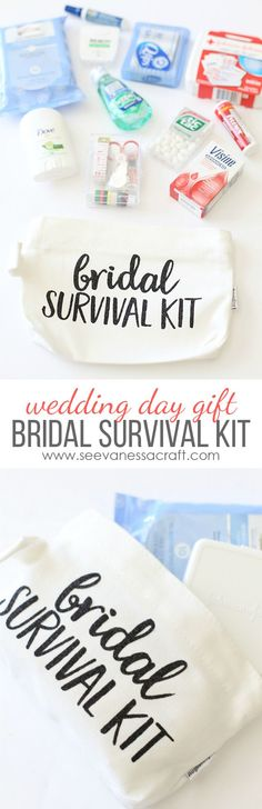 Bridal Survival Kit - filled with wedding day essentials that the bride will need on her big day! Made with @Cricut iron on glitter vinyl. Perfect bridal shower gift idea! #CricutMade #ad