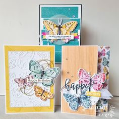 """From Tanya @tanyareespapercraft - The stunning butterflies in these cards have all been diecut the Butterfly Bijou 6x6"""" Designer Series Paper (no longer available). Whilst I love stamping sometimes you just can't go past making a feature out of the amazing imagery on our DSP. Created with sentiments from Always In My Heart stamp (154337), Pretty Perennials stamp (154435) and Art Gallery (154421). Love Stamps, Instagram Accounts, Art Gallery, Happy Birthday, Paper Crafts, Butterfly, Fancy, Pretty, Projects"""