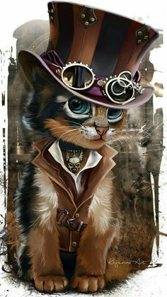 Pinning this steampunk cat to the Camilla board simply because I feel like it, not because it has any relevance to Cami whatsoever. Then this would be her 😝 (Steampunk Kitty by Kajenna) Cute Animal Drawings, Cute Drawings, Baby Animals, Cute Animals, Anime Animals, Steampunk Cat, Steampunk Drawing, Steampunk Artwork, Steampunk Fashion