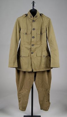 Military Ensemble Date: 1914–18 Culture: American Medium: Cotton, metal, leather, wool, silk, glass, synthetic