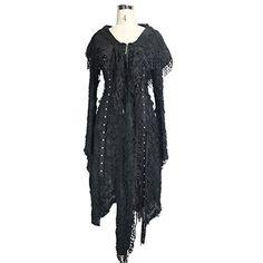 05d4ae79d8a9d Devil Fashion Steampunk Holes Asymmetry Coat Gothic Long Sleeve Coat for  Women