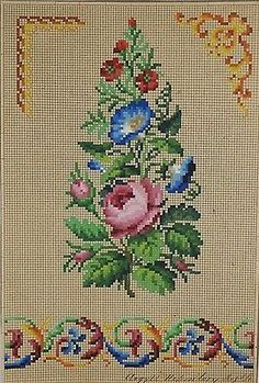 Antique-Berlin-Woolwork-hand-painted-chart-19th-century-Floral-arrangement