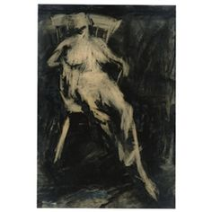 Frank Auerbach- Seated Figure, 1961 charcoal and oil on paper laid on board. 98x66 cm