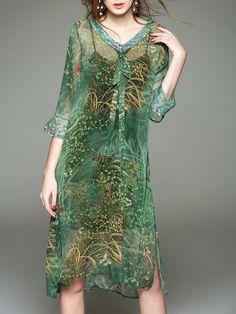 Shop Midi Dresses - V Neck H-line 3/4 Sleeve Vintage Two Piece Midi Dress online. Discover unique designers fashion at StyleWe.com.