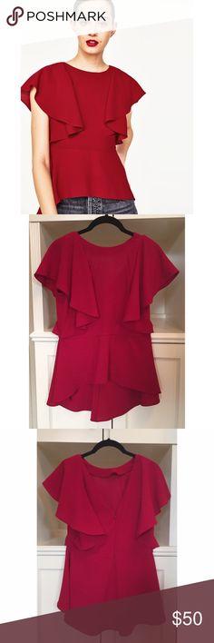 {zara} nwt frilled blouse NWT! Zara Tops Blouses