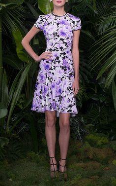 Floral Print Silk Crepe Dress by NAEEM KHAN for Preorder on Moda Operandi