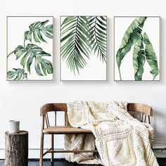 Green Leaves Watercolor Paintings Fine Art Canvas Giclee Prints Monstera Wall Art Palm Leaves Ferns Modern Botany Pictures For Living Room Wall Decor Watercolor Plants, Watercolor Leaves, Watercolor Canvas, Leaf Wall Art, Canvas Wall Art, Canvas Prints, Canvas Poster, Poster Prints, Green Wall Art