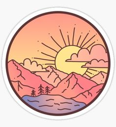 Stickers Discover Sunset Mountains Sticker by Brittany Hefren Stickers Cool, Phone Stickers, Printable Stickers, Red Bubble Stickers, Free Stickers, Free Printables, Vsco, Homemade Stickers, Album Design