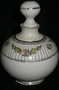 Victorian Porcelain Nippon Noritake Perfume Bottle with Painted Flowers